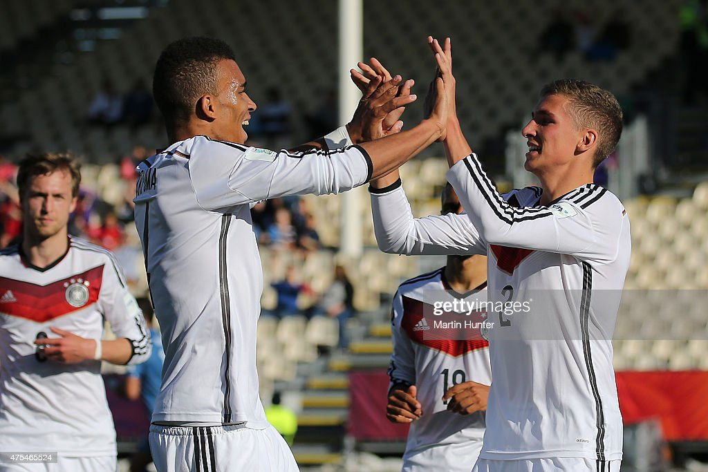 Grischa Proemial (R) celebrates with Levin Oeztunali (L) both of Germany after scoring a goal during the Group E Group E FIFA U-20 World Cup New Zealand 2015 match between Germany and Fiji at AMI Stadium on June 1, 2015 in Christchurch, New Zealand.