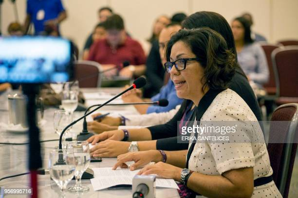 Griselda Colina representative of the Venezuelan organization Global Observatory of Communication and Democracy speaks during a hearing at the...