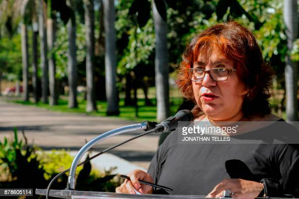 Griselda Triana widow of Mexican journalist Javier Valdez speaks during a tribute to the journalistis in Culiacan State of Sinaloa Mexico on November...