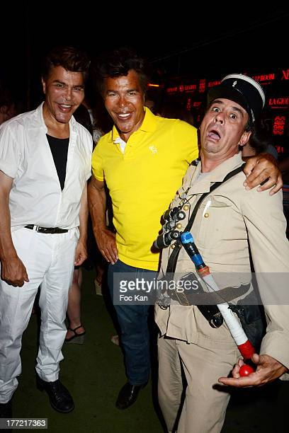 Grishka Bogdanov and Igor Bogdanov and fake gendarme de Saint Tropez humorist Patrick Chagnaud attend the ASAP Rocky Show Case and DJ Set at the VIP...