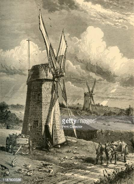 Grist WindMills at East Hampton' 1872 View of gristmills in East Hampton New York State USA From Picturesque America or The Land We Live In A...