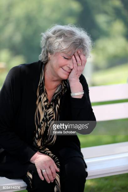Grit Boettcher laughs during the 'WaPo Bodensee' photo call at Schloss Freudental on August 1, 2017 in Allensbach-Freudental near Konstanz, Germany.
