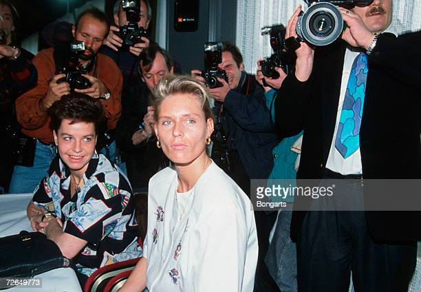 Grit Breuer and Katrin Krabbe are seen during the press conference on April 06 1992 in Darmstadt Germany