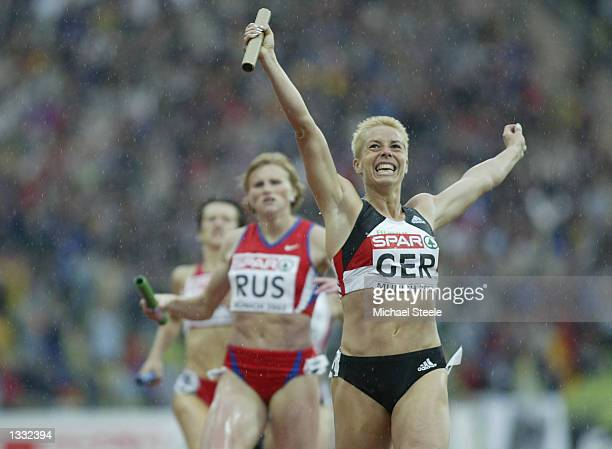 Grit Breuer of Germany celebrates after winning the Women's 4 x 400 Metres Final at the 18th European Championships in Athletics at the Olympic...