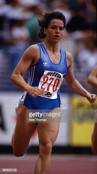 Grit Breuer of Germany winner of the women's 400m final at the 15th European Athletics Championships held in Split Yugoslavia September 1990