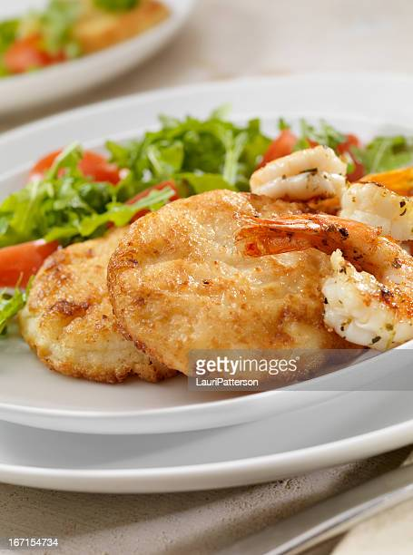 grit cakes - shrimp and grits stock photos and pictures