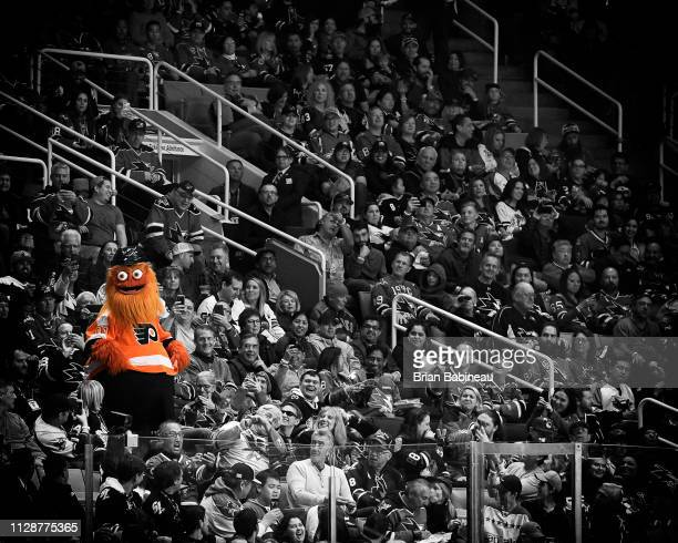 SAN JOSE CA JANUARY 26 Gritty of the Philadelphia Flyers hangs out in the stands during the 2019 Honda NHL AllStar Game at SAP Center on January 26...
