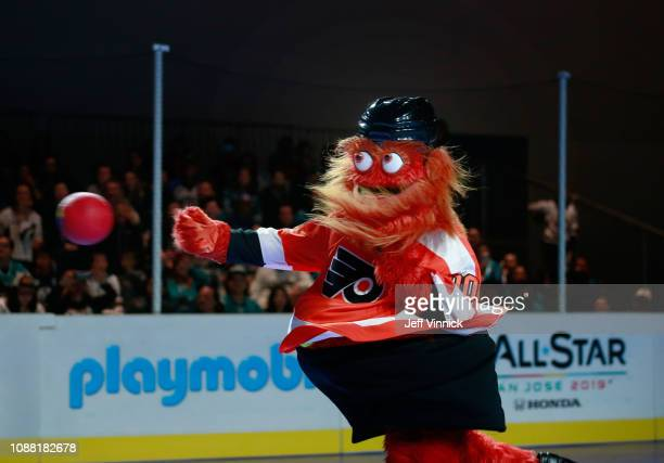 Gritty of the Philadelphia Flyers participates in the 2019 NHL AllStar Mascot Showdown on January 24 2019 in San Jose California