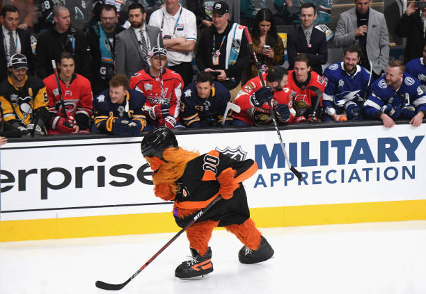 Gritty of the Philadelphia Flyers skates during the Bridgestone NHL Fastest Skater during the 2019 SAP NHL All-Star Skills at SAP Center on January...