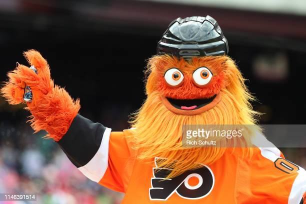 Gritty the mascot of the Philadelphia Flyers entertains during a game between the Philadelphia Phillies and Miami Marlins at Citizens Bank Park on...