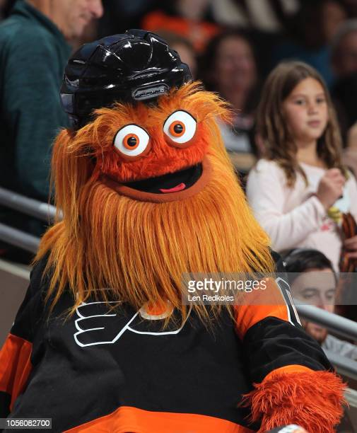 Gritty the mascot of the Philadelphia Flyers entertains fans during a timeout in their game against the Vegas Golden Knights on October 13 2018 at...