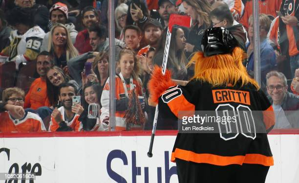 Gritty the mascot of the Philadelphia Flyers entertains fans during the second period intermission in their game against the Vegas Golden Knights on...