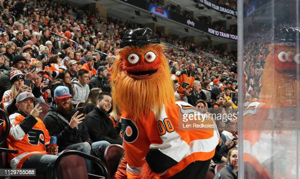 Gritty, the mascot of the Philadelphia Flyers entertains the crowd during an NHL game against the Pittsburgh Penguins on February 11, 2019 at the...