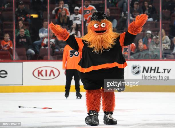 Gritty the mascot of the Philadelphia Flyers entertains the crowd during the second period intermission against the Vegas Golden Knights on October...