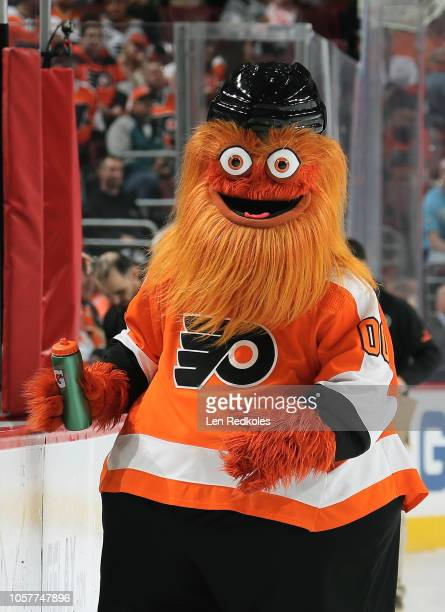 Gritty the mascot of the Philadelphia Flyers on ice during the second period intermission against the Florida Panthers on October 16 2018 at the...