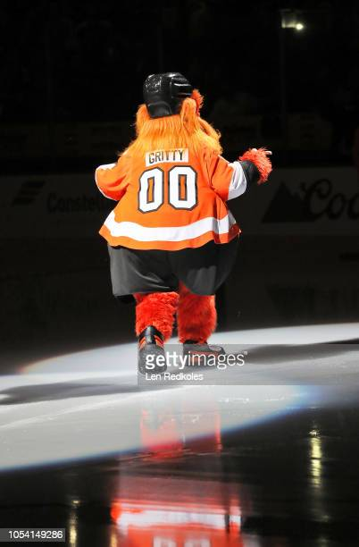 Gritty the new mascot of the Philadelphia Flyers enters the ice surface during pregame ceremonies prior to his team playing against the San Jose...