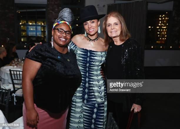 Grizelda Grootboom Amel Larrieux and Gloria Steinem attend the Coalition Against Trafficking In Women's 2017 Gala Game Change A Night Of Celebration...