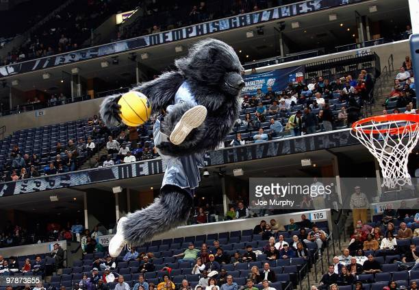Grizz the Memphis Grizzlies mascot performs during a break in the game against the Atlanta Hawks on February 9 2010 at FedExForum in Memphis...