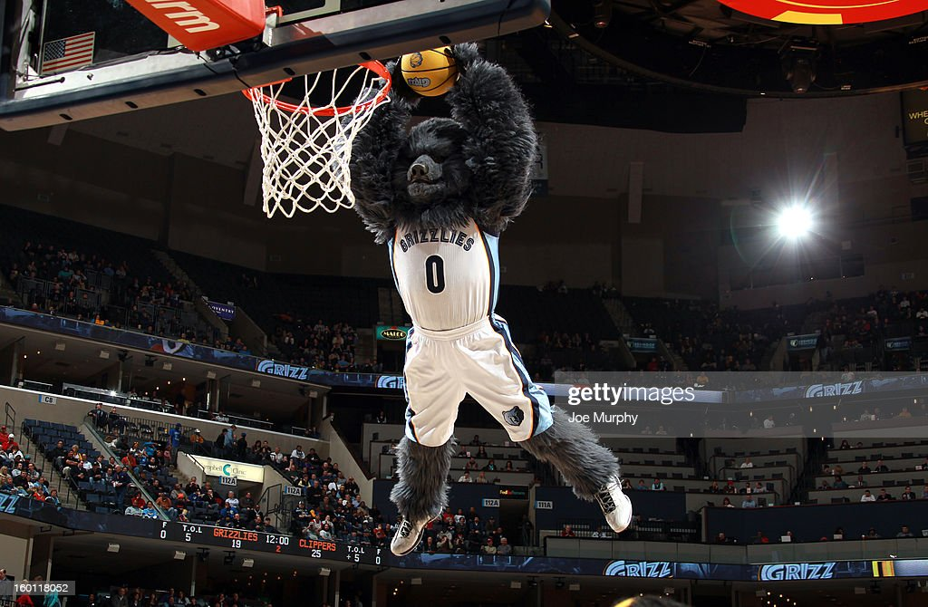 'Grizz,' the Memphis Grizzlies mascot, performs during halftime against the Los Angeles Clippers on January 14, 2013 at FedExForum in Memphis, Tennessee.