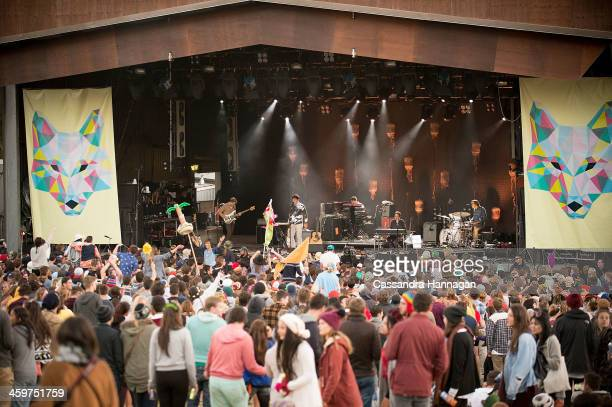 Grizzly Bear performs on stage during Falls Festival on December 30 2013 in Lorne Australia