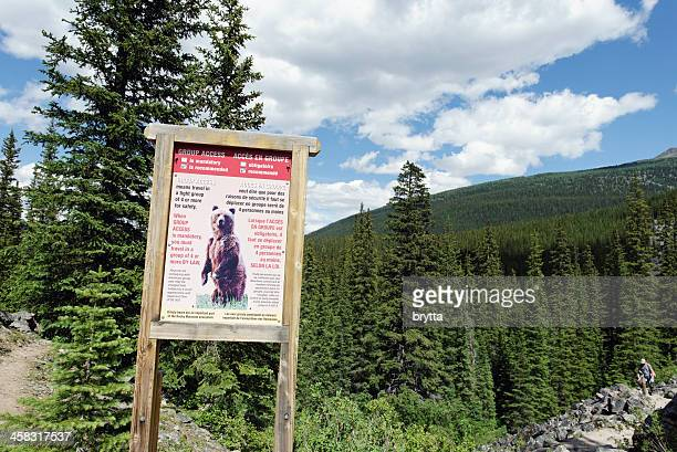 Grizzly bear warning sign