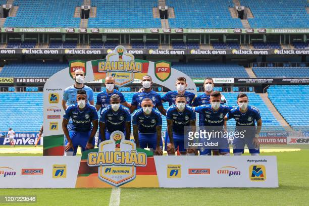 Grêmio players pose for photo before a match between Gremio and Sao Luiz as part of the Rio Grande do Sul State Championship 2020, to be played...