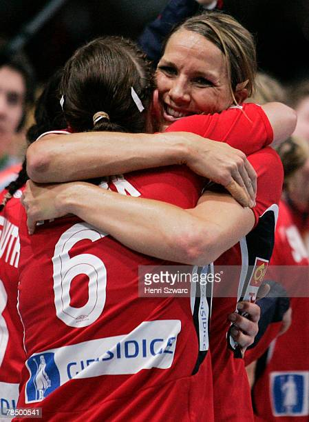Gro Hammerseng and ElseMarthe Lybekk of Norway celebrate after the Women's Handball World Championship semi final match between Germany and Norway at...