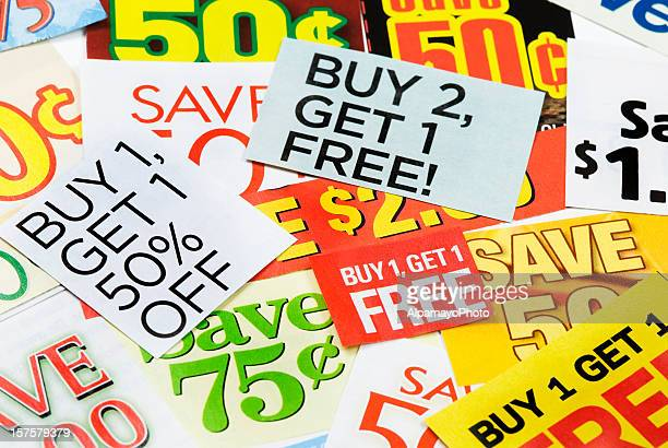 grocery coupons - iv - flyer leaflet stock photos and pictures