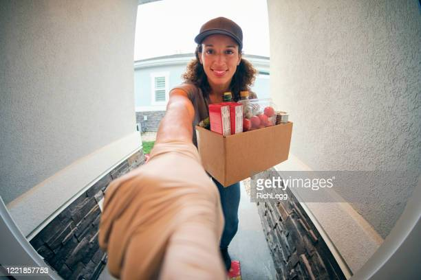grocery delivery person - webcam stock pictures, royalty-free photos & images