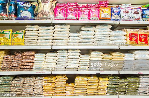 grocery shelf in bangalore supermarket, india - rice food staple stock pictures, royalty-free photos & images