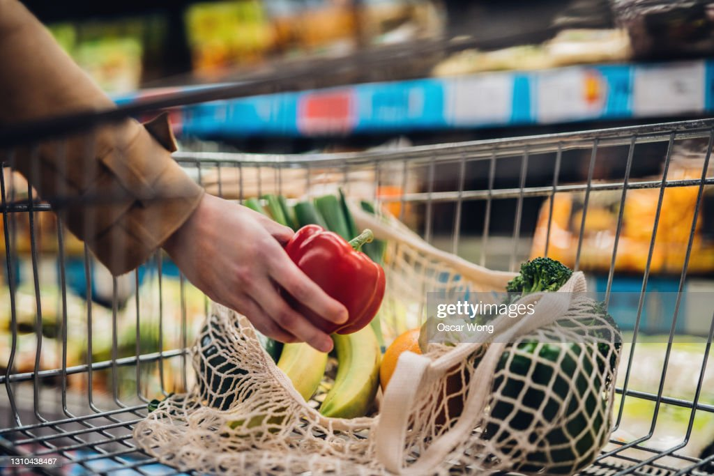 Grocery Shopping With Reusable Shopping Bag At Supermarket : Stock Photo