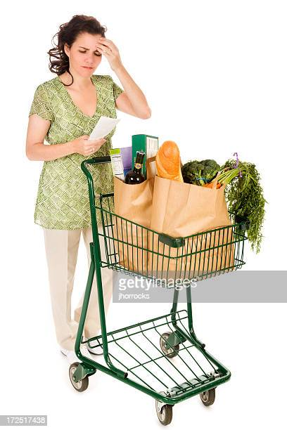 Grocery Shopping Woman Examining Receipt