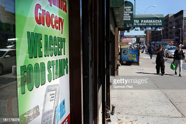 A grocery store advertises that they accept food stamps in the South Bronx on September 19 2013 in New York City According to the 2010 US Census...