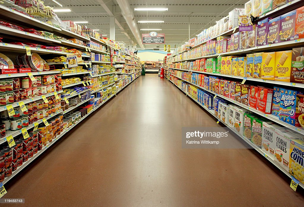 Grocery store aisle. : Stock Photo