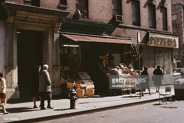 A grocery store and pizzeria on Mulberry Street in Little Italy New York City 23rd March 1969