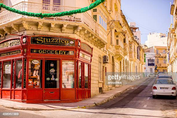 grocery store and wine shop, valetta, malta - maltese islands stock photos and pictures