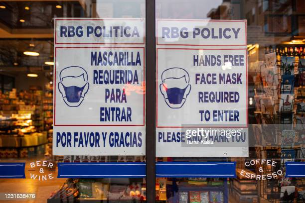 Grocery store displays a sign requiring customers to wear masks on March 10, 2021 in Austin, Texas. The City of Austin said it will continue to...