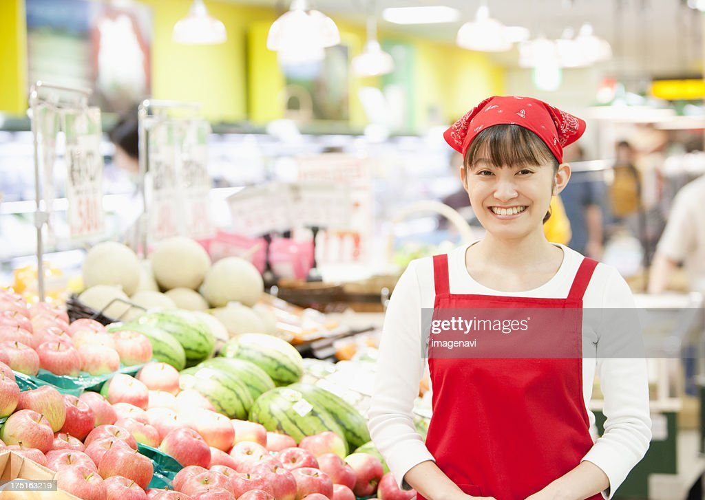 Grocery store staff : Stock Photo