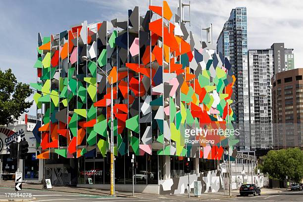 Grocon Pixel Building with iconic panel facade and environmentally efficient architecture. Corner view in Melbourne.