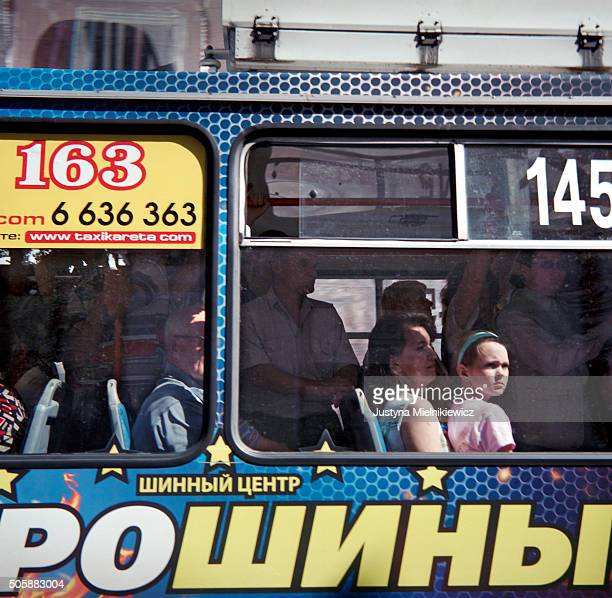Grodno residents ride the public bus connecting remote parts of the city with the center on July 22 2011 in Grodno Belarus Grodno is a city in...