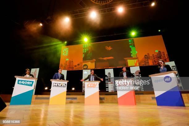 Groen chairwoman Meyrem Almaci NVA chairman Bart De Wever CDV chairman Wouter Beke Spa chairman John Crombez and Open Vld chairwoman Gwendolyn Rutten...