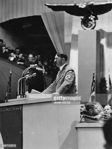 Großkundgebung im Sportpalast: Adolf Hitler während seiner Ansprache