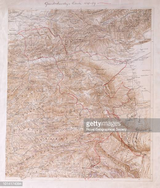 Grombtchevsky's route 1888-89, Route marked on a Russian relief map of East Turkestan and the Pamirs. Scale [1:1 720]. This map shows Russian Officer...
