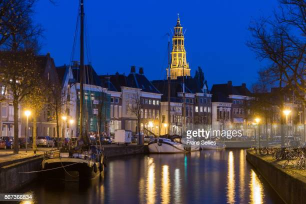groningen city view in the evening, the netherlands - groningen province stock photos and pictures