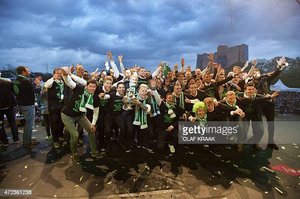 FC Groningen's players gather on stage to celebrates winning the Dutch KNVB Cup together with thousands of soccer fans in Groningen The Netherlands...