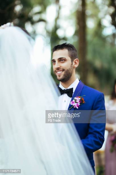 groom and bride in the altar - ceremony stock pictures, royalty-free photos & images