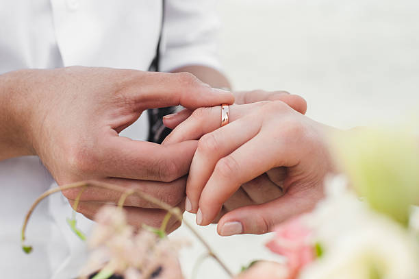 Free wedding ring hand images pictures and royalty free stock wedding ring and blooms bride and grooms hands groom and bride junglespirit Images