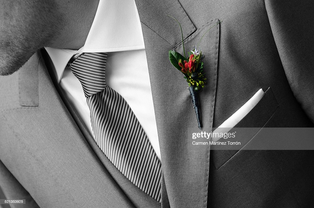 Groom and corsage : Stock Photo