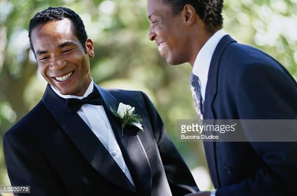 Groom and Groomsman Smiling