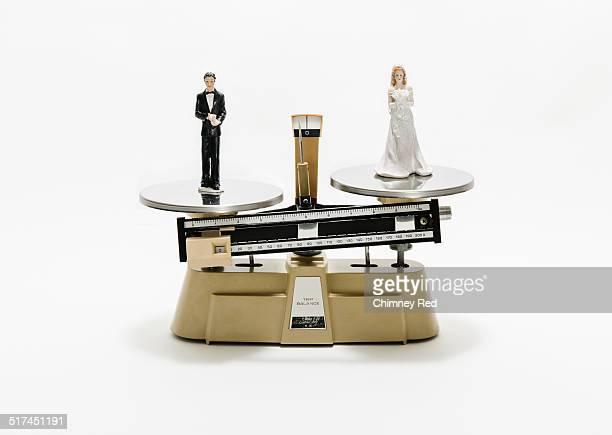 Groom & bride weighed on industrial scales
